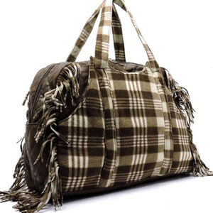 Handbags - XL Brown Polar Fleece Plaid Check Fringe Weekender
