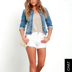 Lulus High Rise Distressed White Denim Shorts