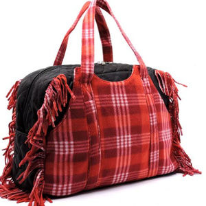 Handbags - XL Red Polar Fleece Plaid Fringe Weekender Tote
