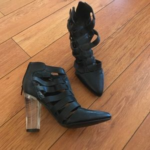 Size 6 Tildon black and clear heels