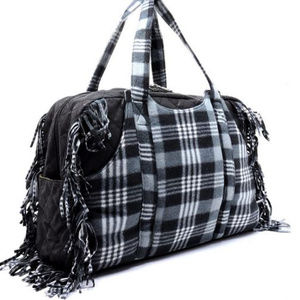 Handbags - Black Polar Fleece Plaid Check Fringe Weekender