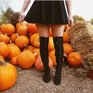 Boutique Shoes - Black Lace Up Over The Knee Boots