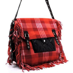 Handbags - Red Polar Fleece Plaid Fringe Messenger Crossbody