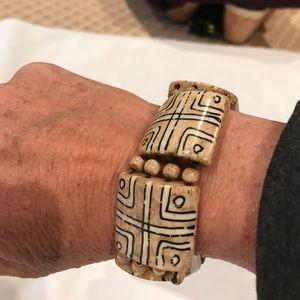 Ceramic tribal bead bracelet- elastic band