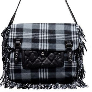 Handbags - Black Polar Fleece Plaid Fringe Crossbody