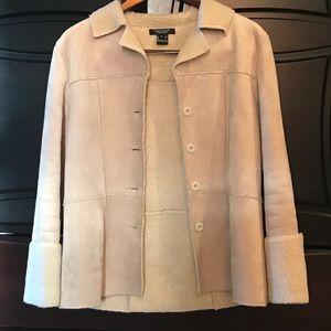 Faux suede fleece tan coat jacket Karen Kane