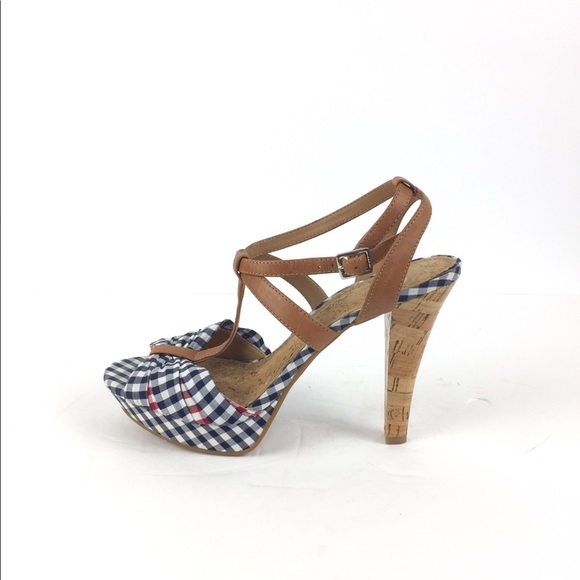 64736460232 Gianni Bini Shoes - Gianni Bini Plaid Peep Toe Platform Cork Heel 9