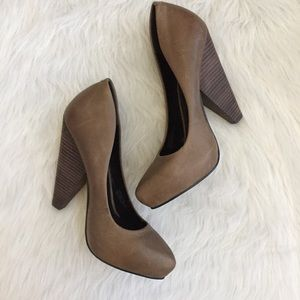 Trouve taupe leather cone heels