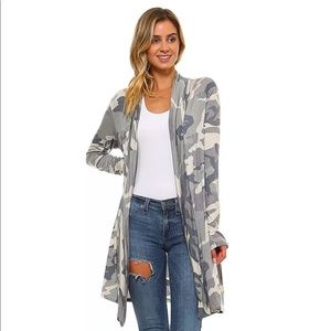 Tops - SALE! Camo long open cardigan
