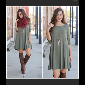 Infinity Raine Dresses - Olive 3/4 sleeve dress or long tunic