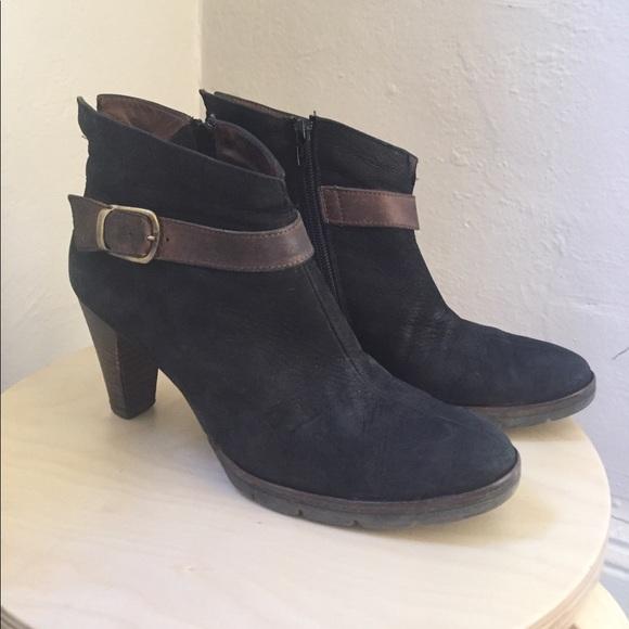 Paul Green Shoes - Paul Green black suede booties, brown buckle