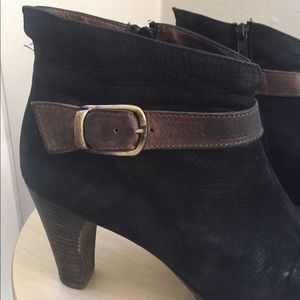 Paul Green Shoes - Paul Green black suede booties, brown buckle