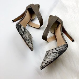 New Vince Camuto Grey Leather Python Pumps