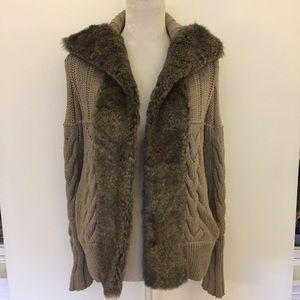 DKNY beige faux fur lapel cable knit Cardigan