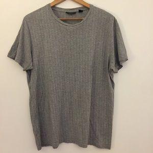 DKNY gray rib Stretch Knit short sleeve tee shirt