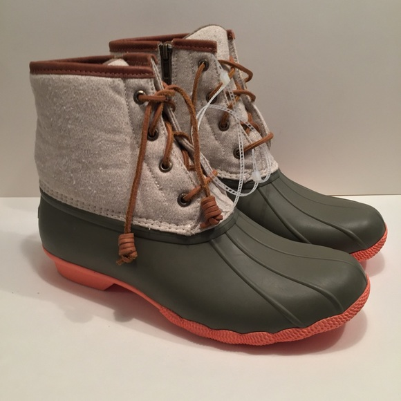 ff87e4123b78 Sperry olive green orange saltwater duck boots