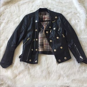 Black Faux Leather Moro Jacket
