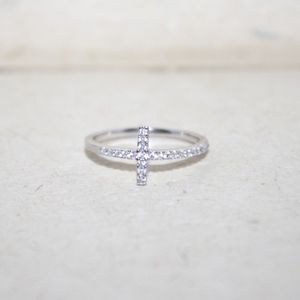 Jewelry - CZ Cross sterling silver ring, midi ring