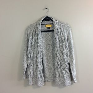 St. John Braided Shimmery Wool Blend Cardigan