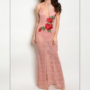 Pink Lace Red Rose Dress