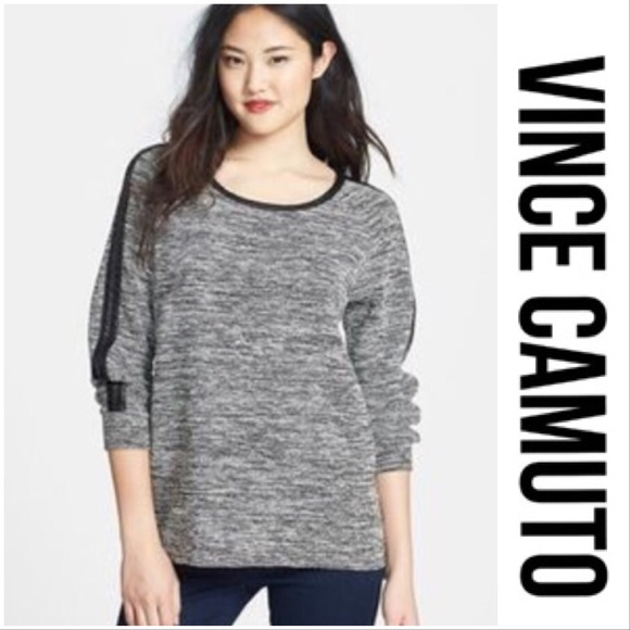 867c5cb8c7f Two By Vince Camuto• Leather Trimmed Sweater. M 59f2729e9c6fcf00b4003f04