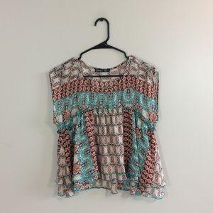 Gypsy 05 Silk Printed Ruffle Sleeveless Blouse Top