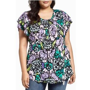Melissa McCarthy Seven7 Tops - Floral Pintuck Blouse