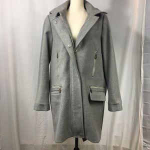 Vince Camuto Zipper Accent Wool Blend Coat
