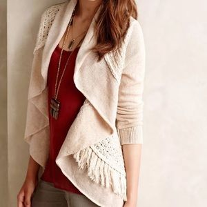 🍂ANTHRO Knitted&Knotted Fringed Circle knit cardi