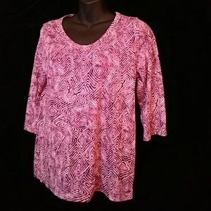😁Relativity knit print top w 3/4 sleeves - sz MP