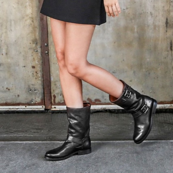 Frye NEW Natalie Mid Calf Engineer Black Leather Womens Boots 7 RUNS SMALL $398