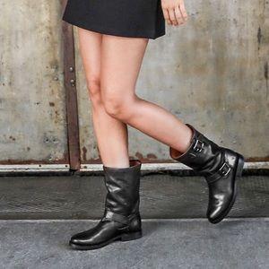 FRYE Natalie Mid Engineer Lug Boot Black Leather