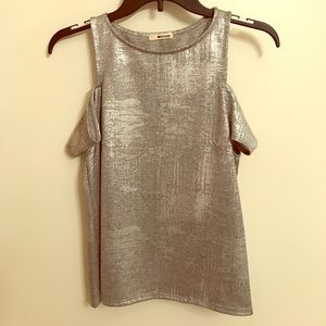Metallic silver top