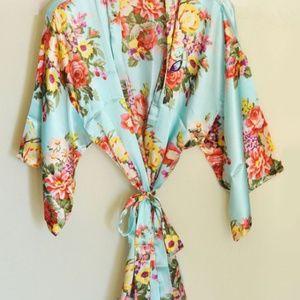 Other - Monogram Floral Silk Robe