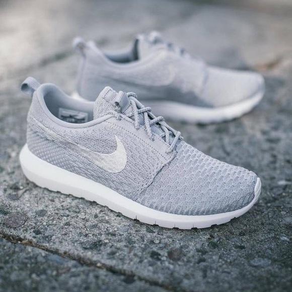 NWT Nike Roshe NM Flyknit in Grey Wolf - 10