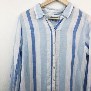 Kenar Linen Blue Beach-Stripe Tunic