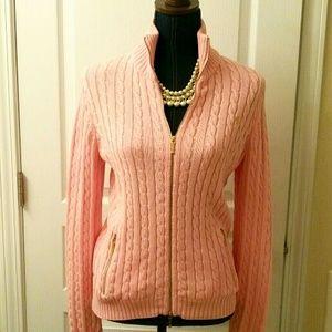 LAUREN Ralph Lauren Pink Knit Sweater Jacket