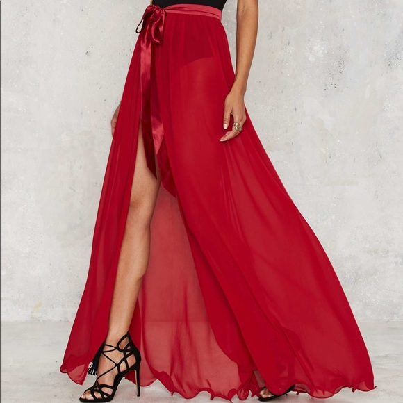 832a05f6d0 Nasty Gal Skirts | Lioness By Sheer Red Maxi Skirt | Poshmark