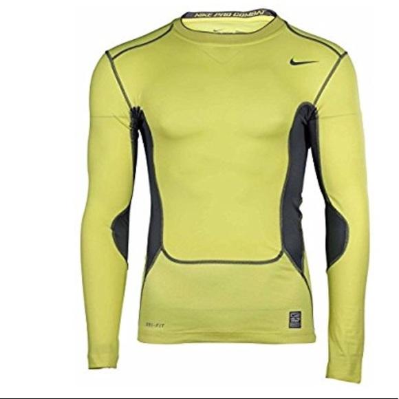 MEN'S NIKE PRO Combat Orange Shirt Compression Long Sleeve