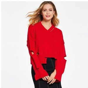 Sweaters - Gorgeous Soft Red Deconstructed Sweater