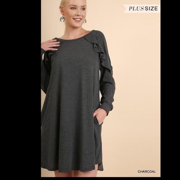 Dresses Plus Size Ruffle Detail Charcoal Grey Dress Poshmark