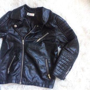 H&M KIDS black faux leather moto jacket