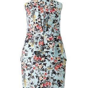 Light blue floral strapless dress