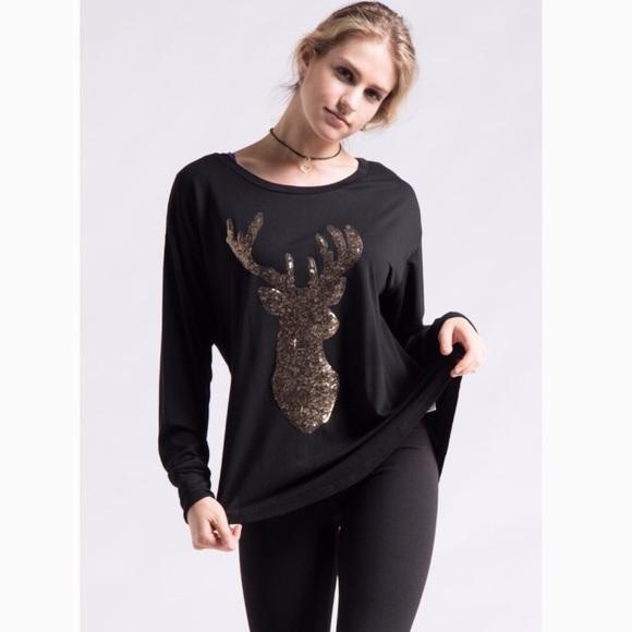 923dc04da26 Fashionomics Tops   Reindeer Gold Sequin Long Sleeve Top New   Poshmark