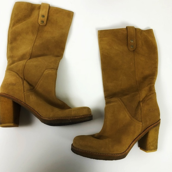 Super Sale UGG tan suede tall heeled boots