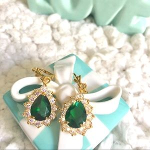 Jewelry - emerald tone swarovski crystal earrings