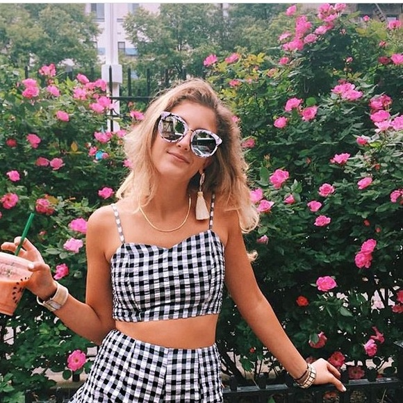 LF Tops - SOLD LF Gingham Sweetheart Crop Top