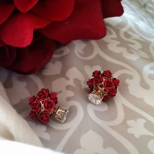 Red Rose Double Stud Earrings