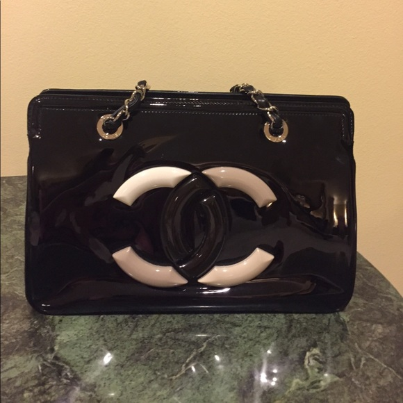 CHANEL Handbags - Chanel Patent Leather Lipstick Tote Bag 34a7ab30ddd00