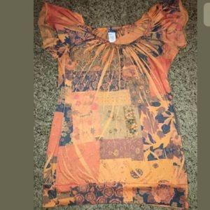 Daytrip BKE orange Floral shirt size Medium
